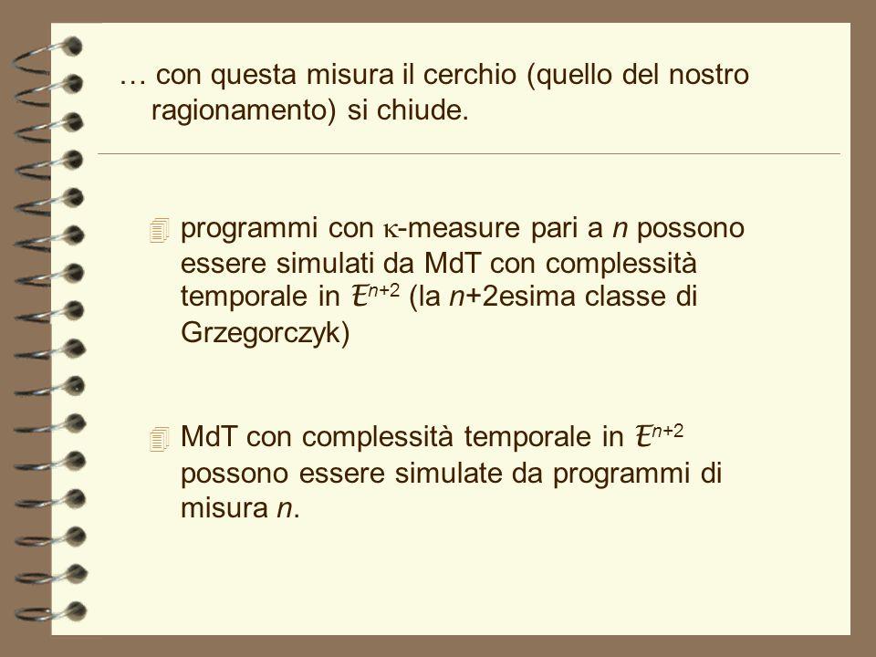 … con questa misura il cerchio (quello del nostro ragionamento) si chiude. programmi con -measure pari a n possono essere simulati da MdT con compless