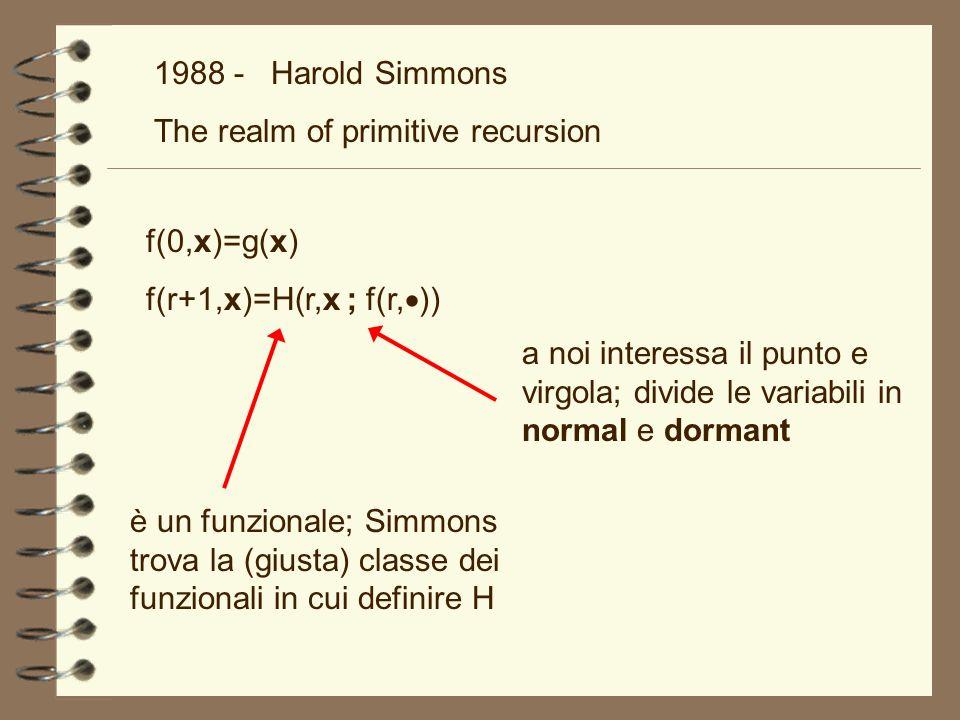 1988 - Harold Simmons The realm of primitive recursion è un funzionale; Simmons trova la (giusta) classe dei funzionali in cui definire H f(0,x)=g(x)