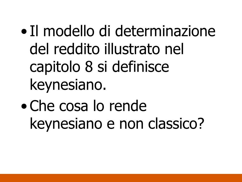 Il modello di determinazione del reddito illustrato nel capitolo 8 si definisce keynesiano.