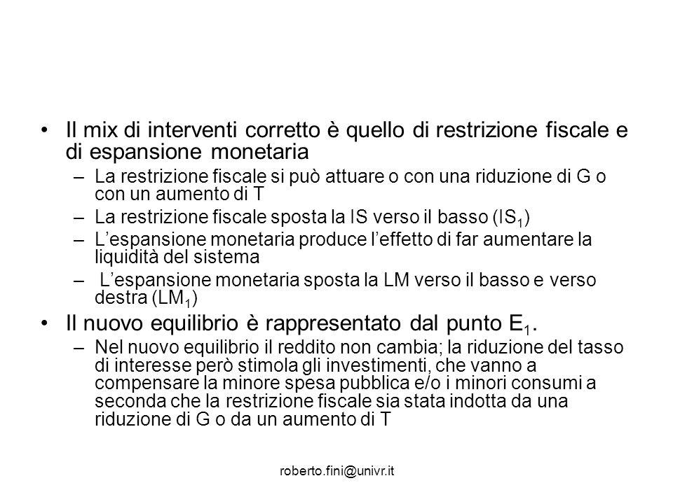 roberto.fini@univr.it Il mix di interventi corretto è quello di restrizione fiscale e di espansione monetaria –La restrizione fiscale si può attuare o