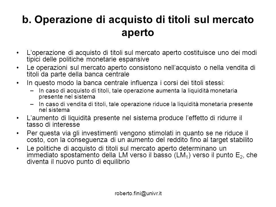 roberto.fini@univr.it b. Operazione di acquisto di titoli sul mercato aperto Loperazione di acquisto di titoli sul mercato aperto costituisce uno dei
