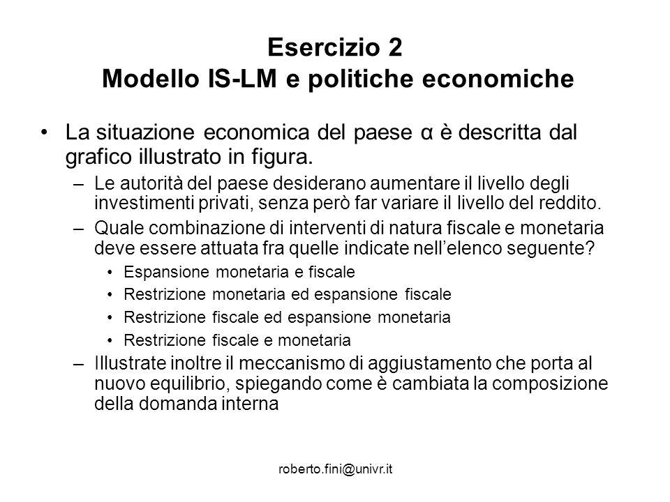 roberto.fini@univr.it Esercizio 2 Modello IS-LM e politiche economiche La situazione economica del paese α è descritta dal grafico illustrato in figur