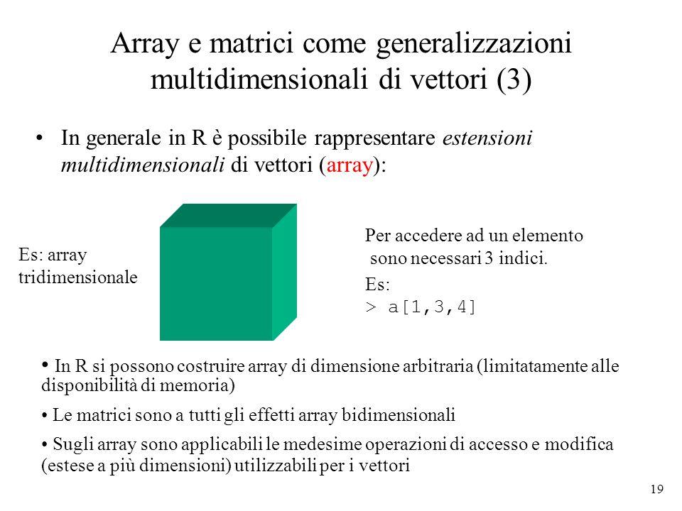 19 Array e matrici come generalizzazioni multidimensionali di vettori (3) In generale in R è possibile rappresentare estensioni multidimensionali di v
