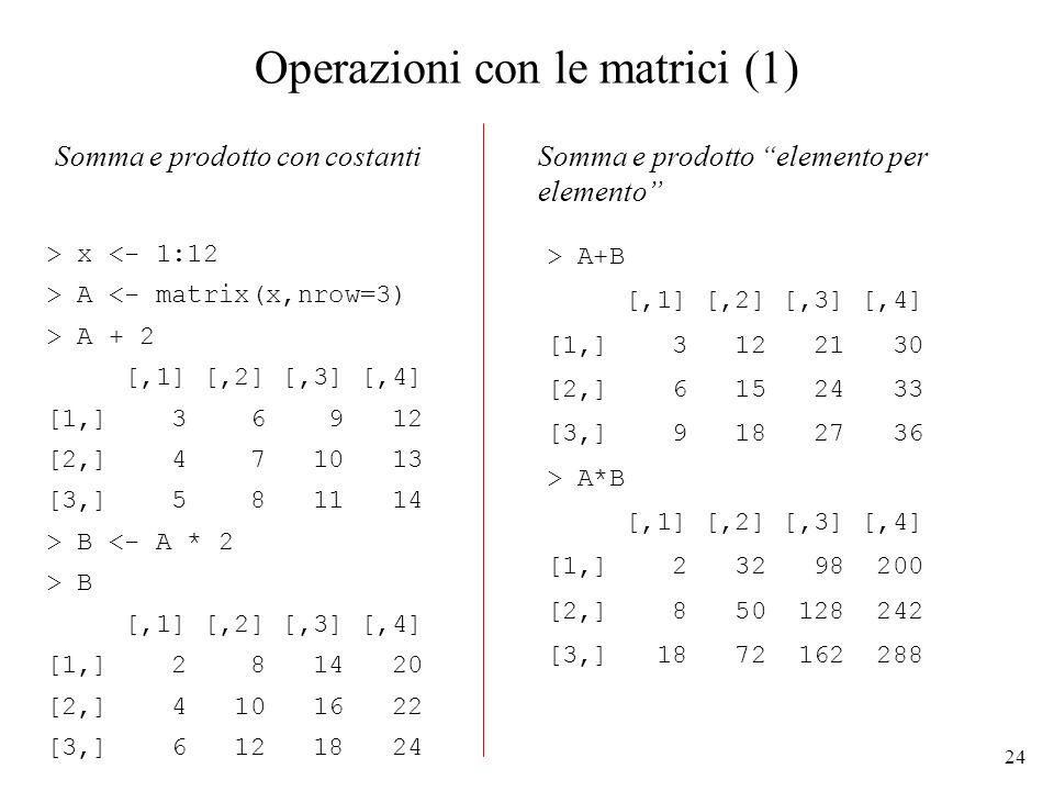 24 Operazioni con le matrici (1) > x <- 1:12 > A <- matrix(x,nrow=3) > A + 2 [,1] [,2] [,3] [,4] [1,] 3 6 9 12 [2,] 4 7 10 13 [3,] 5 8 11 14 > B <- A