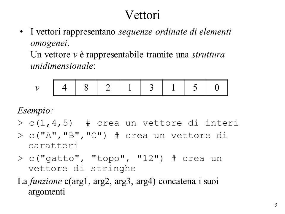 34 Lista come insieme ordinato di oggetti eterogenei (2) Una lista composta da oggetti eterogenei: un valore logico, un vettore di interi, un altra lista ed una matrice di caratteri 13709 ATC CGA TTG TRUE 0.16.34.1 GT CG DNA valore logico vettore di interi lista matrice di caratteri Un componente della lista può essere a sua volta una lista