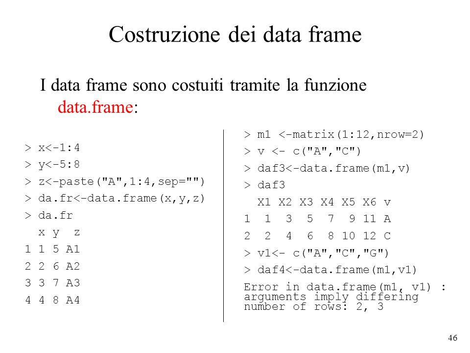 46 Costruzione dei data frame I data frame sono costuiti tramite la funzione data.frame: > x<-1:4 > y<-5:8 > z<-paste(