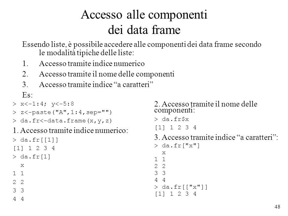 48 Accesso alle componenti dei data frame Essendo liste, è possibile accedere alle componenti dei data frame secondo le modalità tipiche delle liste:
