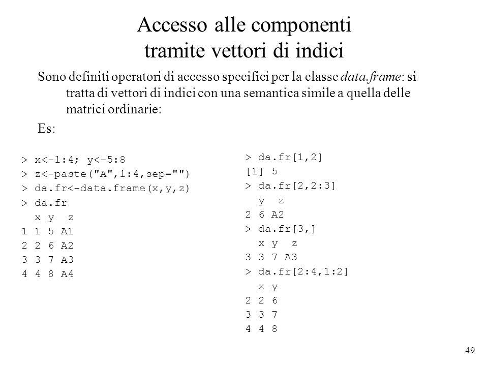 49 Accesso alle componenti tramite vettori di indici Sono definiti operatori di accesso specifici per la classe data.frame: si tratta di vettori di in