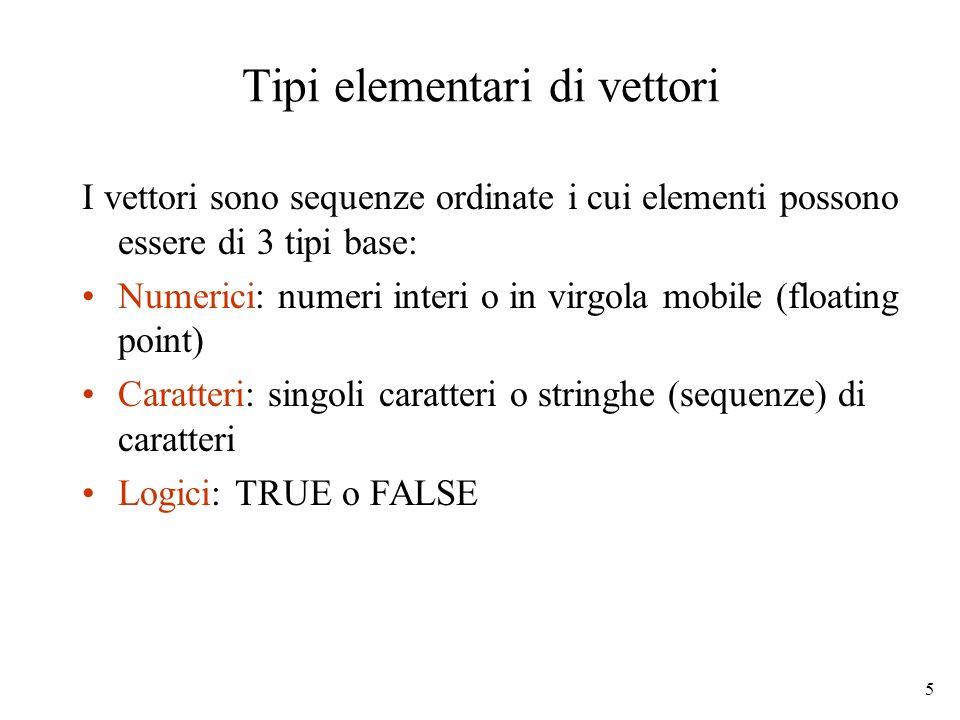 5 Tipi elementari di vettori I vettori sono sequenze ordinate i cui elementi possono essere di 3 tipi base: Numerici: numeri interi o in virgola mobil