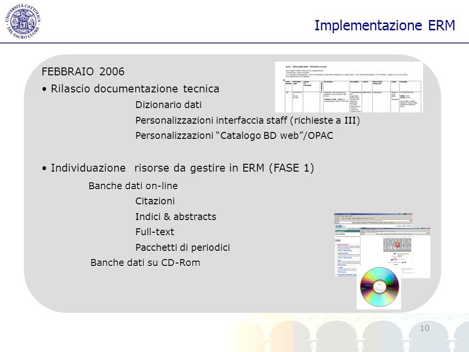 yy 10 Implementazione ERM FEBBRAIO 2006 Rilascio documentazione tecnica Dizionario dati Personalizzazioni interfaccia staff (richieste a III) Personal