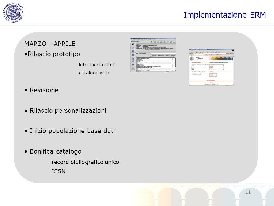 yy 11 Implementazione ERM MARZO - APRILE Rilascio prototipo interfaccia staff catalogo web Revisione Rilascio personalizzazioni Inizio popolazione bas