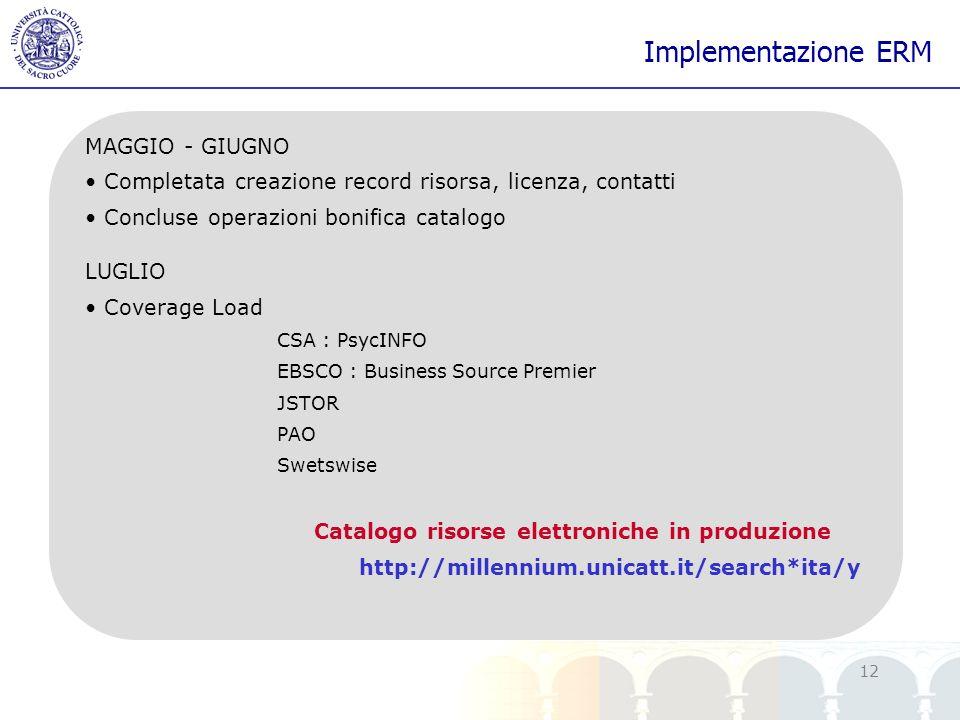 yy 12 Implementazione ERM MAGGIO - GIUGNO Completata creazione record risorsa, licenza, contatti Concluse operazioni bonifica catalogo LUGLIO Coverage