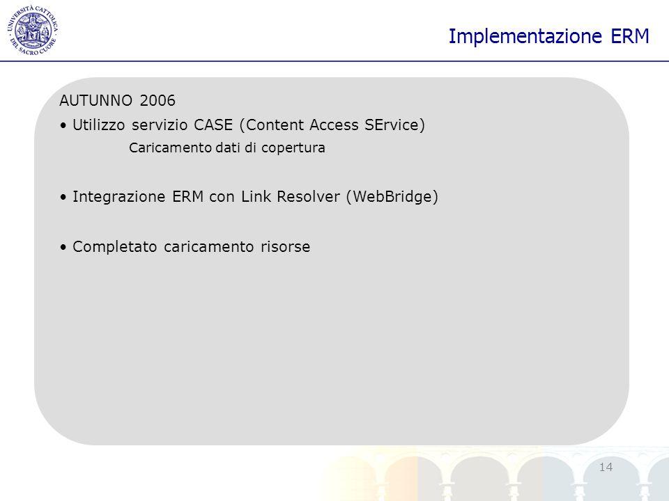 yy 14 Implementazione ERM AUTUNNO 2006 Utilizzo servizio CASE (Content Access SErvice) Caricamento dati di copertura Integrazione ERM con Link Resolve