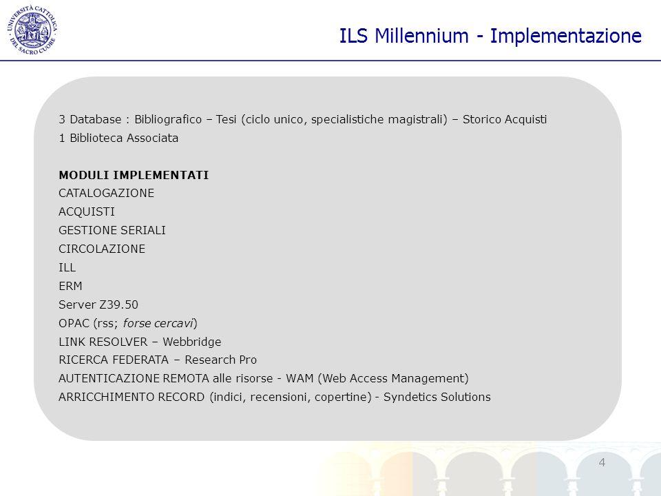 yy 4 ILS Millennium - Implementazione 3 Database : Bibliografico – Tesi (ciclo unico, specialistiche magistrali) – Storico Acquisti 1 Biblioteca Assoc