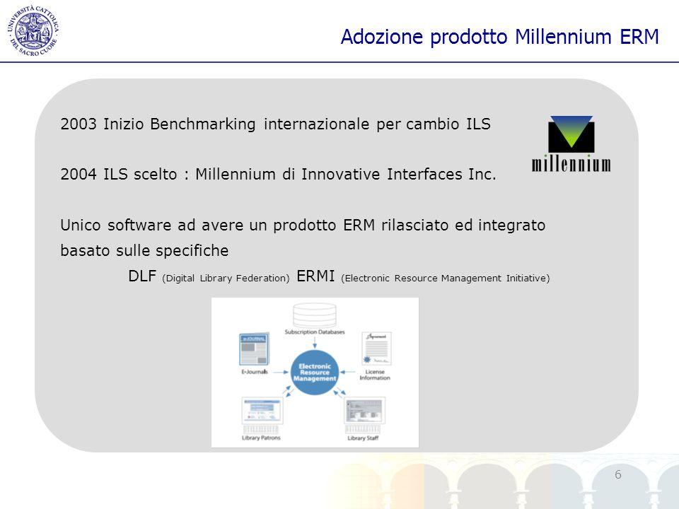yy 6 Adozione prodotto Millennium ERM 2003 Inizio Benchmarking internazionale per cambio ILS 2004 ILS scelto : Millennium di Innovative Interfaces Inc