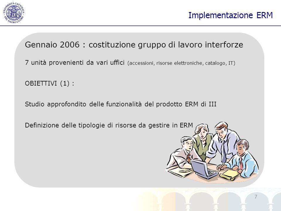 yy 7 Implementazione ERM Gennaio 2006 : costituzione gruppo di lavoro interforze 7 unità provenienti da vari uffici (accessioni, risorse elettroniche,