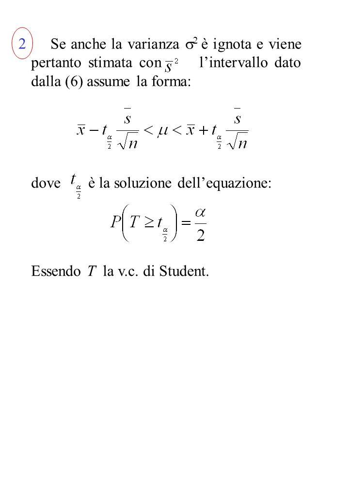 Se anche la varianza 2 è ignota e viene pertanto stimata con lintervallo dato dalla (6) assume la forma: dove è la soluzione dellequazione: Essendo T