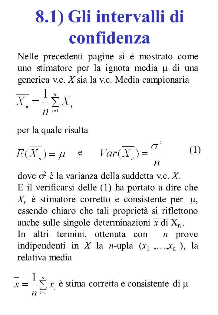 Nelle precedenti pagine si è mostrato come uno stimatore per la ignota media di una generica v.c. X sia la v.c. Media campionaria per la quale risulta