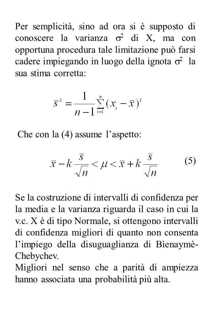 Per semplicità, sino ad ora si è supposto di conoscere la varianza 2 di X, ma con opportuna procedura tale limitazione può farsi cadere impiegando in