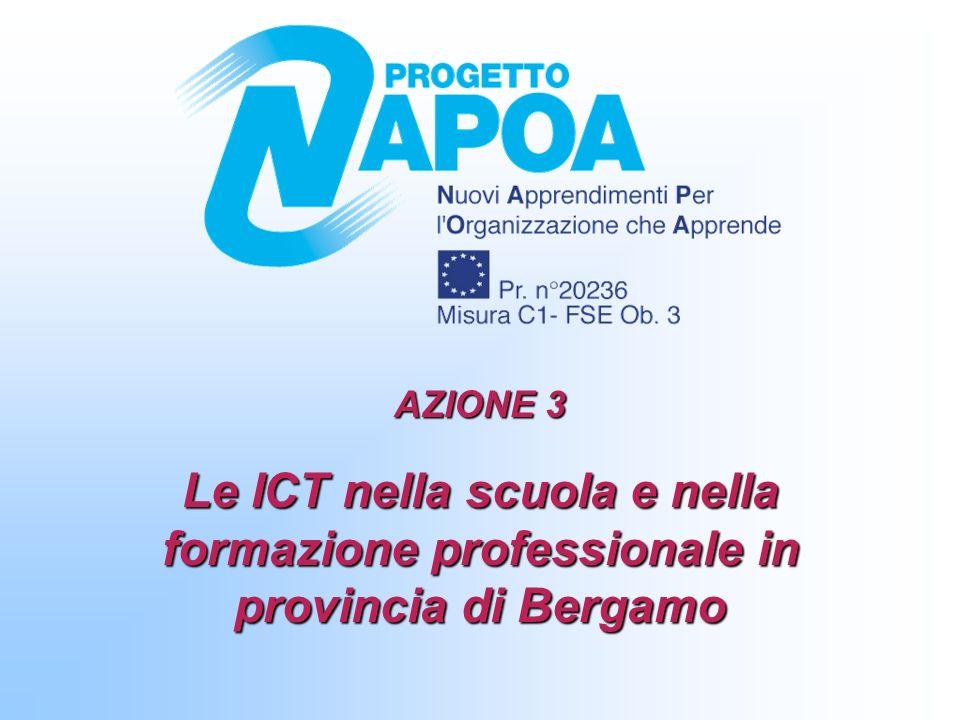 STUDENTI PER COMPUTER Indicatore T.2.1/T.1.2: Studenti totali su numero totale di computer a disposizione degli studenti Indicatore T.2.2/T.1.2: Studenti che utilizzano il computer su numero totale di computer a disposizione degli studenti Azione3: Le ICT nella scuola e nella formazione professionale in provincia di Bergamo 12