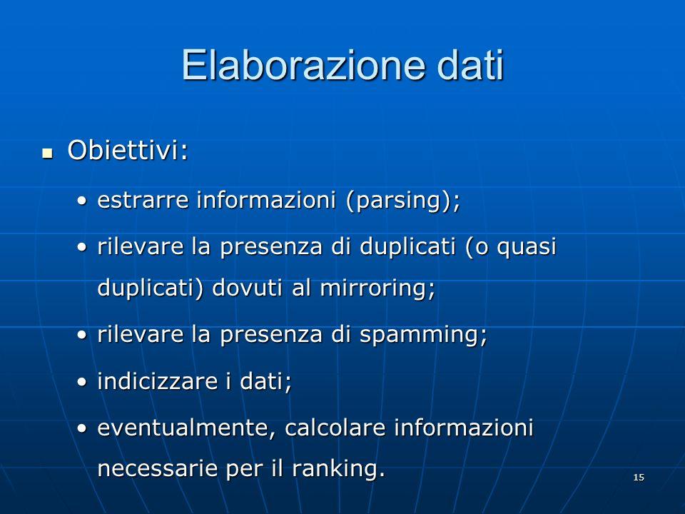 15 Elaborazione dati Obiettivi: Obiettivi: estrarre informazioni (parsing);estrarre informazioni (parsing); rilevare la presenza di duplicati (o quasi