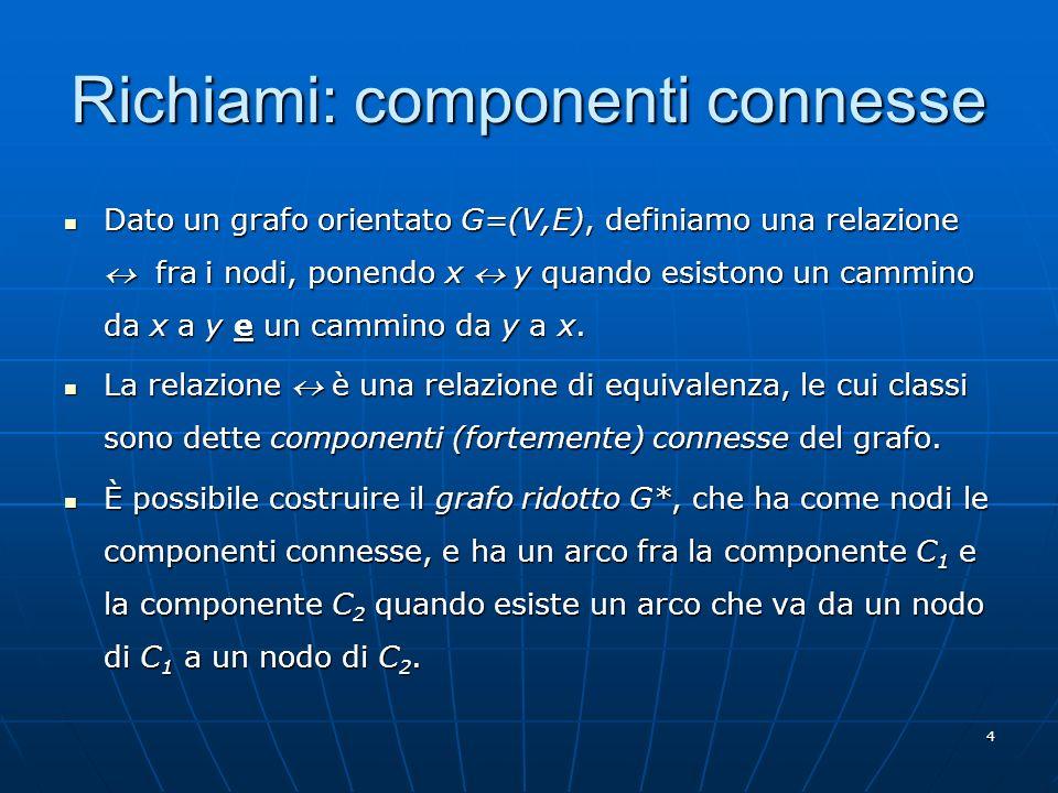 4 Richiami: componenti connesse Dato un grafo orientato G=(V,E), definiamo una relazione fra i nodi, ponendo x y quando esistono un cammino da x a y e