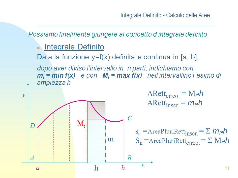 10 Aumentando il numero dei rettangoli lapprossimazione di S sarà sempre più precisa. Considerando un numero di rettangolini via via crescente avremo