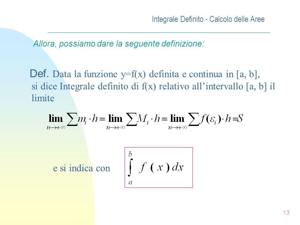 12 Integrale Definito - Calcolo delle Aree Allora,indicando con f( i ) il valore della funzione in un punto qualsiasi dellintervallo i-esimo, tenendo
