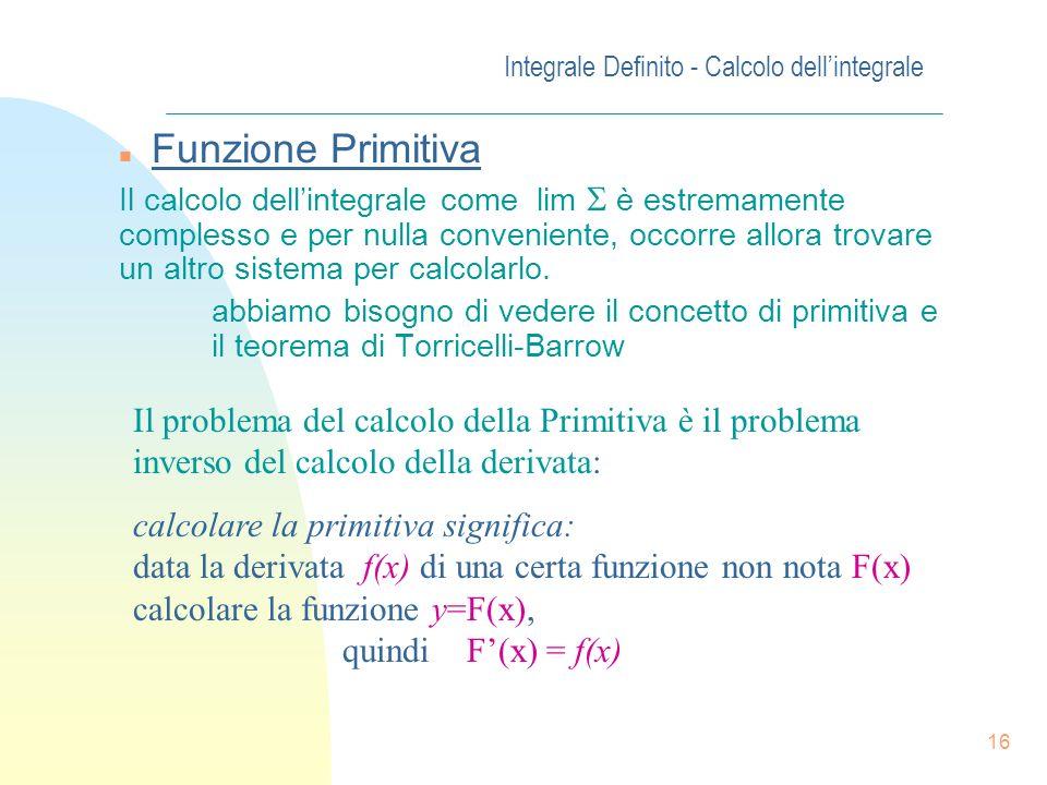15 Integrale Definito - Proprietà n Teorema della Media Se y = f(x) è una funzione continua nellintervallo chiuso e limitato [a, b] allora esiste alme