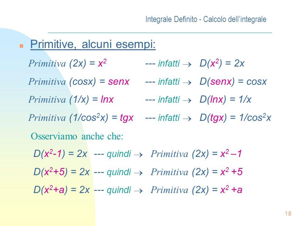 17 Integrale Definito - Calcolo dellintegrale Def. Diremo che F(x) è una primitiva della funzione y=f(x) in [a, b] sse F(x) è derivabile in [a, b] e r