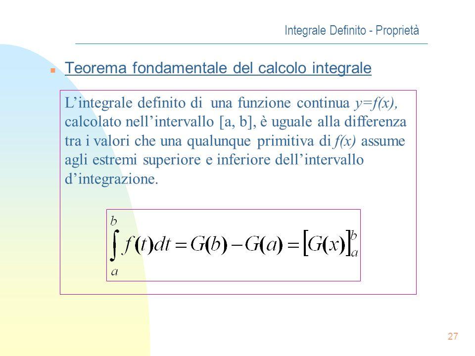 26 Integrale Definito - Proprietà n Calcolo dellIntegrale Definito Formula di Newton-Leibniz Finalmente possiamo calcolare lintegrale definito Conside