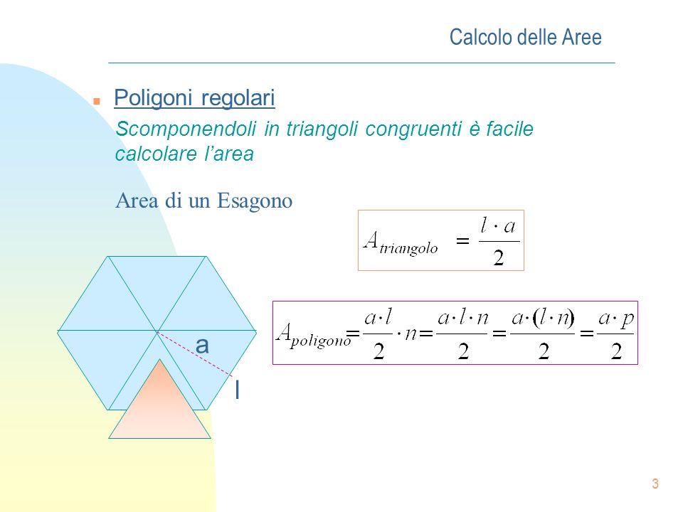 2 Calcolo delle Aree n Area dei poligoni: È la situazione più semplice in quanto qualunque poligono può essere scomposto in triangoli e la sua area ri
