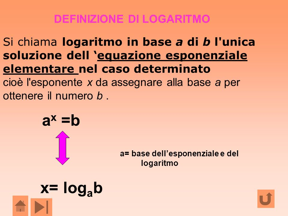 Si chiama logaritmo in base a di b l'unica soluzione dell equazione esponenziale elementare nel caso determinatoequazione esponenziale elementare cioè