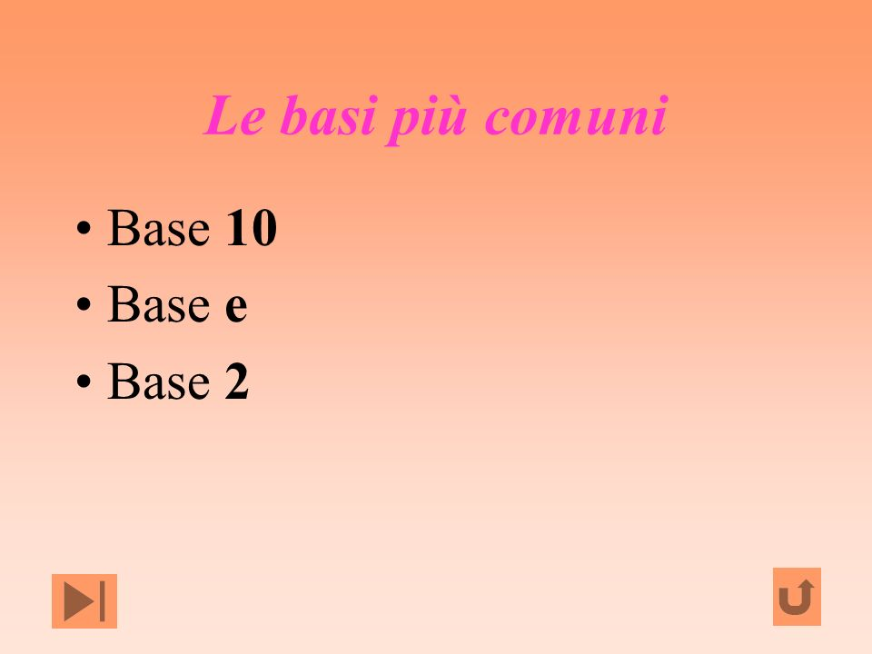 Le basi più comuni Base 10 Base e Base 2