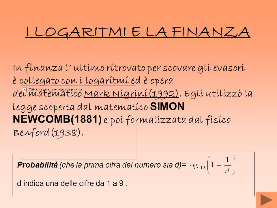 I LOGARITMI E LA FINANZA In finanza l ultimo ritrovato per scovare gli evasori è collegato con i logaritmi ed è opera del matematico Mark Nigrini(1992