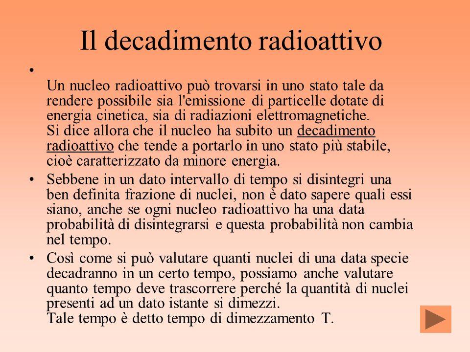 Il decadimento radioattivo Un nucleo radioattivo può trovarsi in uno stato tale da rendere possibile sia l'emissione di particelle dotate di energia c