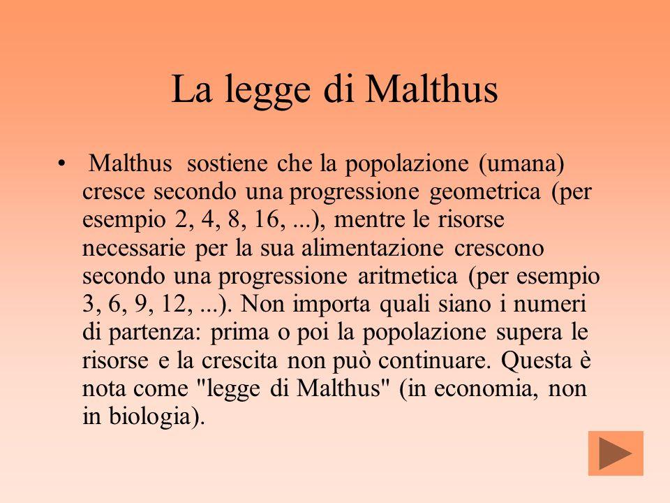 La legge di Malthus Malthus sostiene che la popolazione (umana) cresce secondo una progressione geometrica (per esempio 2, 4, 8, 16,...), mentre le ri