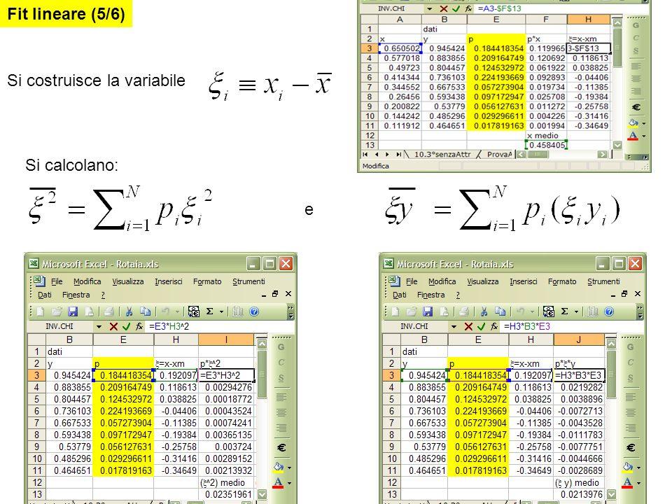 Si costruisce la variabile Si calcolano: e Fit lineare (5/6)
