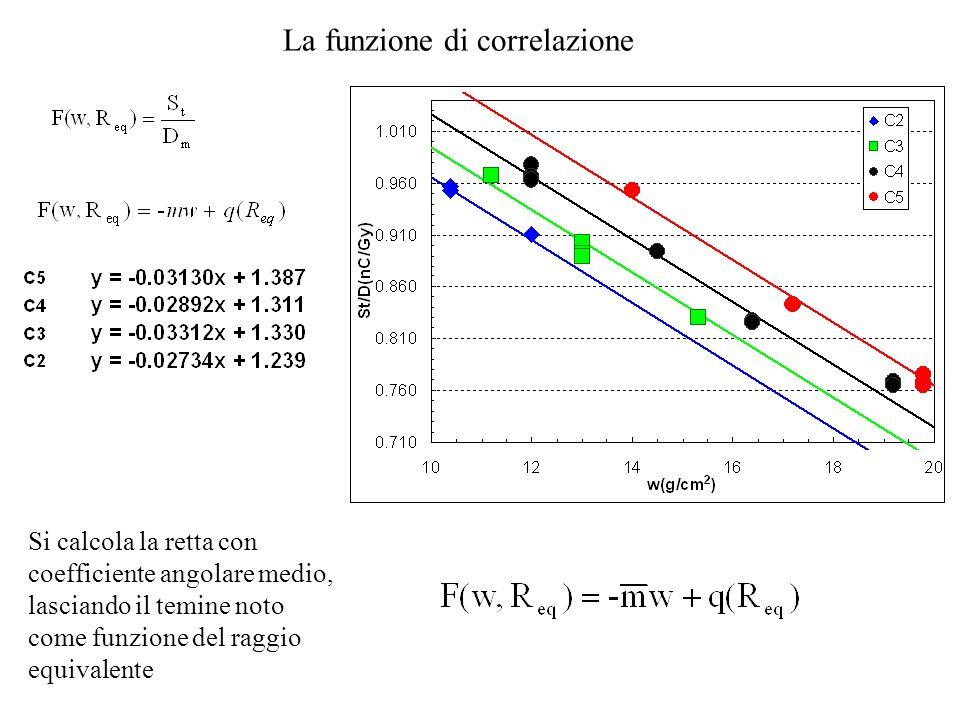La funzione di correlazione Si calcola la retta con coefficiente angolare medio, lasciando il temine noto come funzione del raggio equivalente