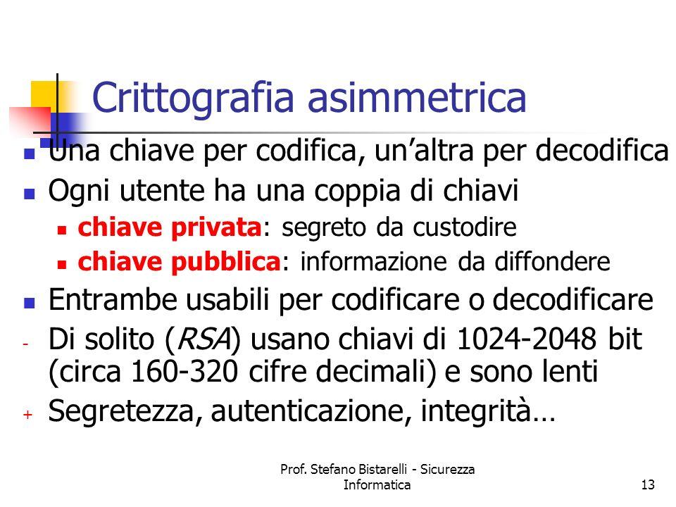 Prof. Stefano Bistarelli - Sicurezza Informatica13 Crittografia asimmetrica Una chiave per codifica, unaltra per decodifica Ogni utente ha una coppia