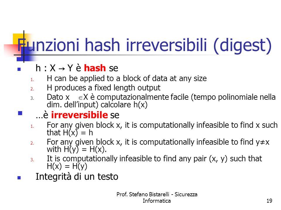 Prof. Stefano Bistarelli - Sicurezza Informatica19 Funzioni hash irreversibili (digest) h : X Y è hash se 1. H can be applied to a block of data at an