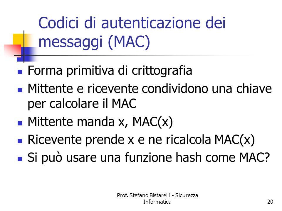 Prof. Stefano Bistarelli - Sicurezza Informatica20 Codici di autenticazione dei messaggi (MAC) Forma primitiva di crittografia Mittente e ricevente co