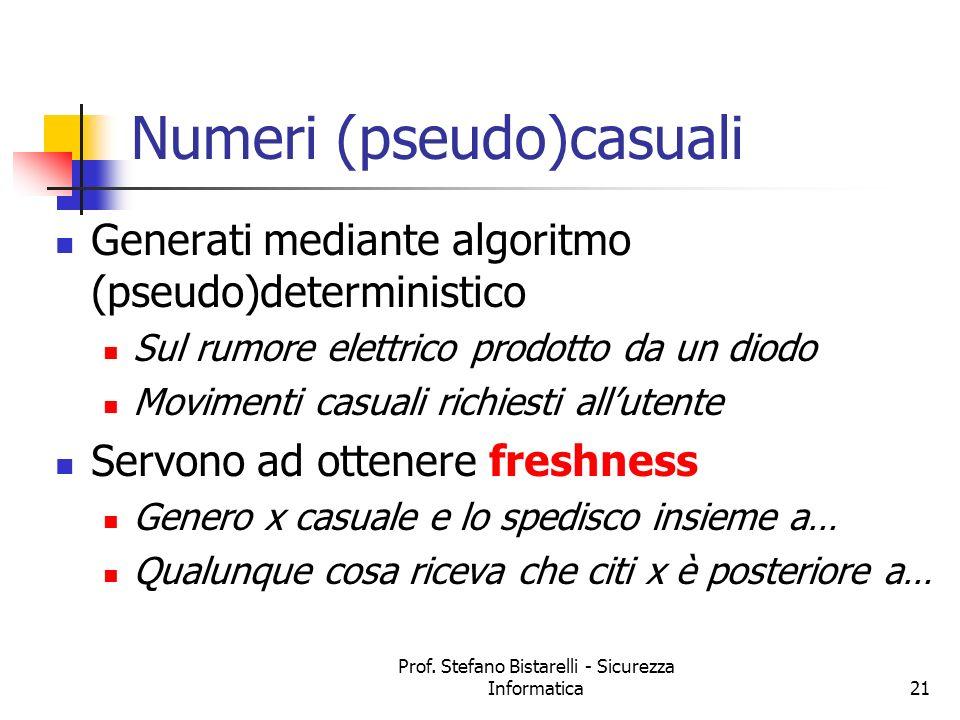 Prof. Stefano Bistarelli - Sicurezza Informatica21 Numeri (pseudo)casuali Generati mediante algoritmo (pseudo)deterministico Sul rumore elettrico prod
