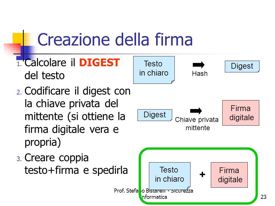 Prof. Stefano Bistarelli - Sicurezza Informatica23 Creazione della firma 1. Calcolare il DIGEST del testo 2. Codificare il digest con la chiave privat