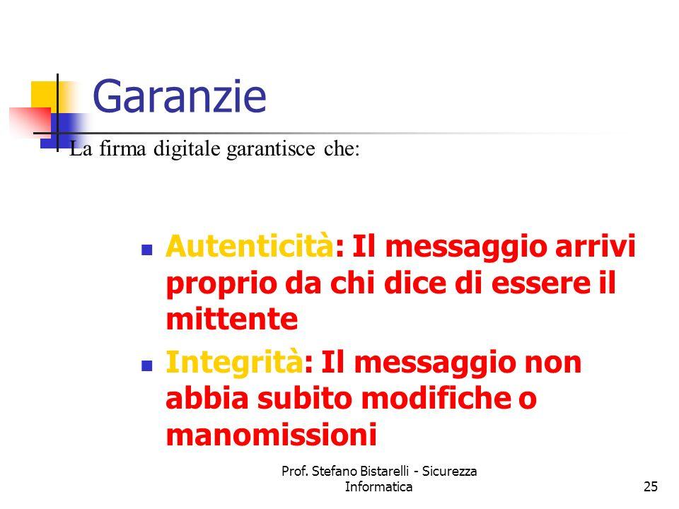 Prof. Stefano Bistarelli - Sicurezza Informatica25 Garanzie Autenticità: Il messaggio arrivi proprio da chi dice di essere il mittente Integrità: Il m