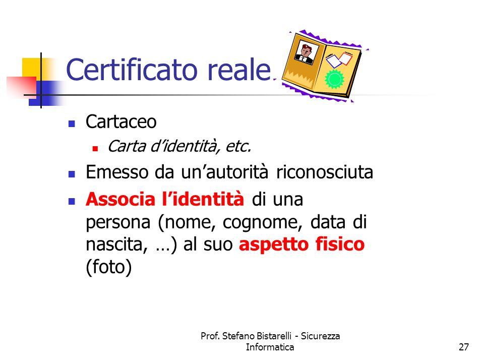 Prof. Stefano Bistarelli - Sicurezza Informatica27 Certificato reale Cartaceo Carta didentità, etc. Emesso da unautorità riconosciuta Associa lidentit