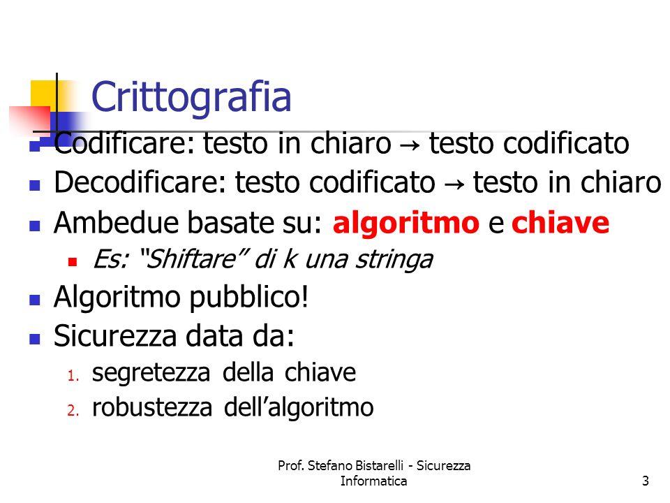 Prof. Stefano Bistarelli - Sicurezza Informatica3 Crittografia Codificare: testo in chiaro testo codificato Decodificare: testo codificato testo in ch