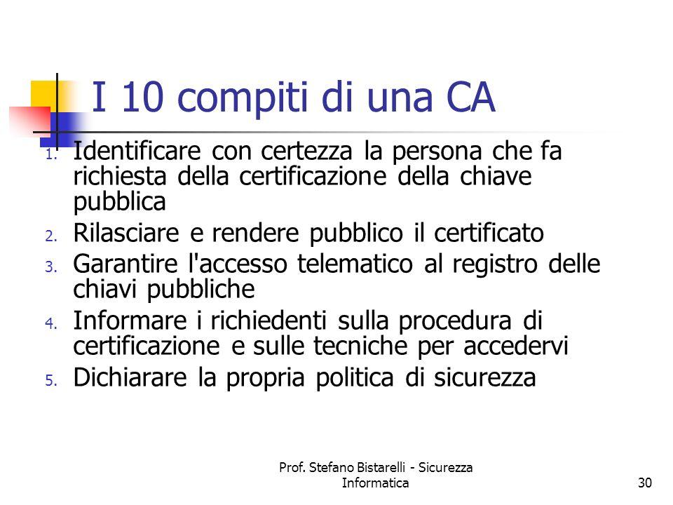 Prof. Stefano Bistarelli - Sicurezza Informatica30 I 10 compiti di una CA 1. Identificare con certezza la persona che fa richiesta della certificazion