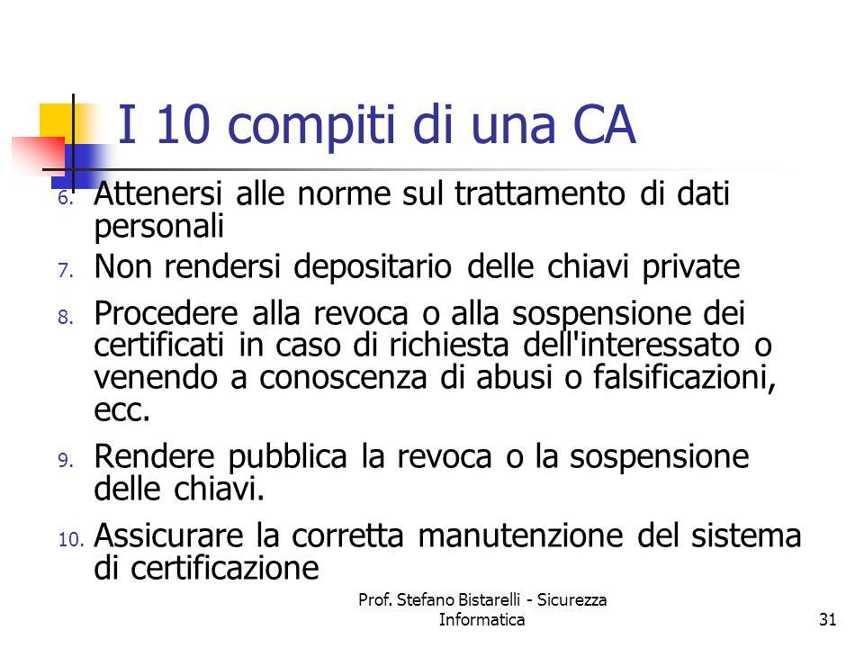 Prof. Stefano Bistarelli - Sicurezza Informatica31 I 10 compiti di una CA 6. Attenersi alle norme sul trattamento di dati personali 7. Non rendersi de