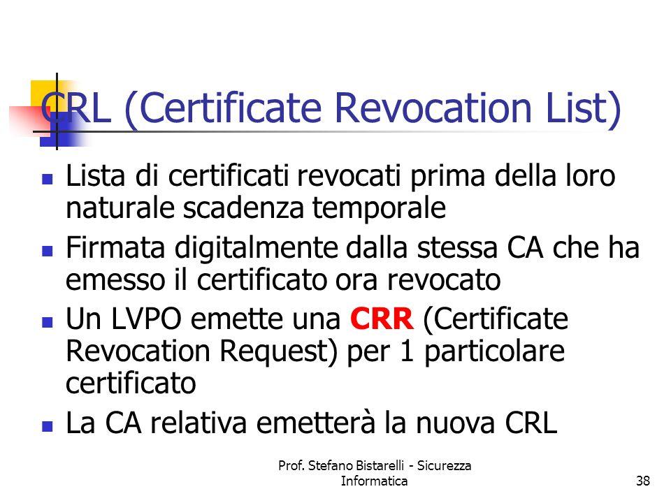 Prof. Stefano Bistarelli - Sicurezza Informatica38 CRL (Certificate Revocation List) Lista di certificati revocati prima della loro naturale scadenza